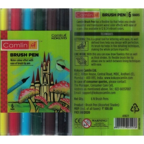 Camlin Brush Pen 6 Shades (Pack Of 1) KS01389