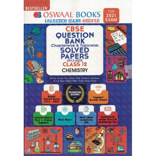 Oswaal Book CBSE Question Bank Chapterwise & topicwise Solved Papers Class12th Chemistry For2021 Exam KS00355