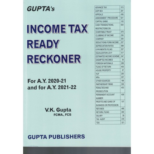 Income Tax Read Reckoner For A.Y. 2020-21 And For A.Y. 2021-22 By V.K Gupta FCMA.,FCS KS00830
